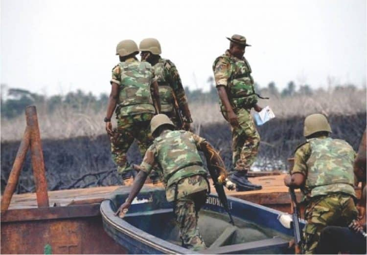 The Joint (Military) Task Force in the Creeks of the Niger Delta. Photo Credit: ICIR